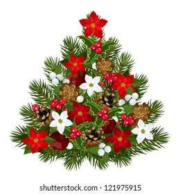 Decorative Christmas tree. Vector illustration.