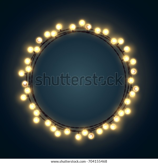 Decorative Christmas wreath made of yellow incandescent light strings. Vector illustration.