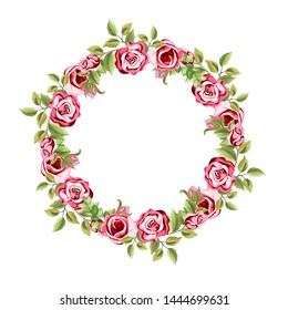 decorative circle frame with floral and leaves ornament