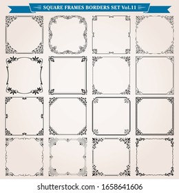 Decorative classic vintage square frames and borders set 11 vector