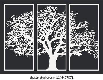 Decorative CNC Laser Cut MDF Large Winter Tree