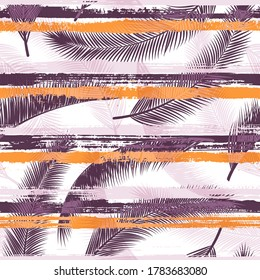 Decorative coconut palm leaves tree branches over painted stripes seamless pattern design. Brazilian jungle foliage swimwear textile print. Stripes and tropical leaves illustration.