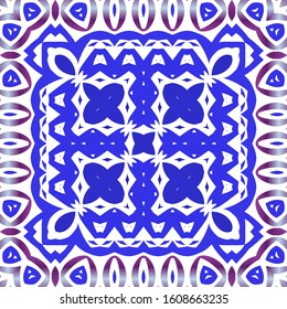 Decorative color ceramic azulejo tiles. Creative design. Vector seamless pattern concept. Blue folk ethnic ornament for print, web background, surface texture, towels, pillows, wallpaper.