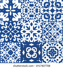 Decorative color ceramic azulejo tiles. Geometric design. Kit of vector seamless patterns. Blue folk ethnic ornaments for print, web background, surface texture, towels, pillows, wallpaper.