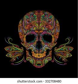 Decorative color skull on black background. Black and white, vector illustration