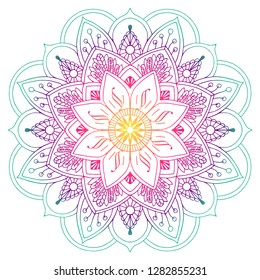 Decorative colored mandala_in peach and green colors. Drawing lines. Plant motifs
