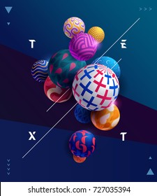 Decorative colorful 3D balls. Poster template.
