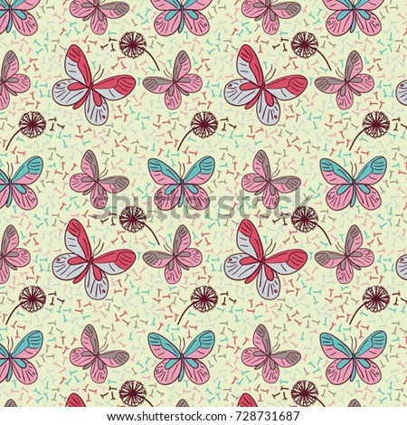 Decorative Colorful Abstract Butterfly Dandelion Pattern Stock