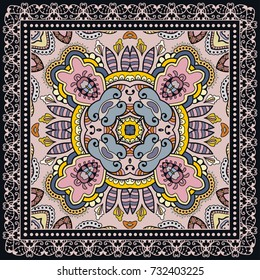 Decorative colorful background, geometric floral doodle pattern with ornate lace frame. Tribal ethnic mandala ornament. Bandanna shawl, tablecloth fabric print, silk neck scarf, kerchief design