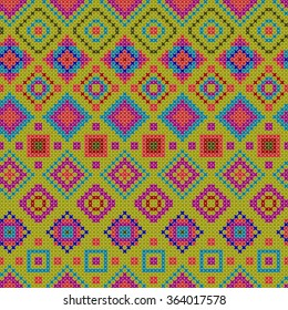 decorative colorful ethnic x-stitch seamless pattern