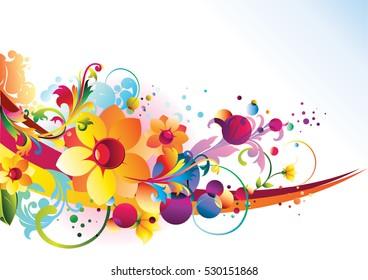 Decorative colorful floral background