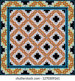 Decorative Colorful Geometric Pattern. Line Art, Lace Background. Vector Illustration