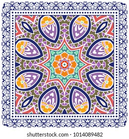 Decorative colorful ornament on a white background, symmetric pattern with doodle lace frame. Tribal ethnic mandala decor. Bandanna shawl, tablecloth fabric print, silk neck scarf, kerchief design