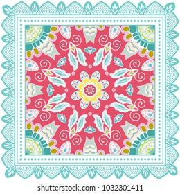Decorative colorful ornament on a white background, symmetric pattern with doodle lace frame. Tribal ethnic mandala decor. Bandana shawl, tablecloth fabric print, silk neck scarf, kerchief design
