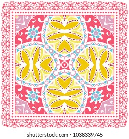 Decorative colorful ornament on a white background, symmetric pattern with doodle lace frame. Tribal ethnic mandala decor. Bandana shawl, tablecloth fabric print, silk neck scarf, kerchief design