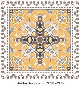 Decorative colorful ornament on white background, symmetric pattern with doodle lace frame. Tribal ethnic mandala decor. Bandana shawl, tablecloth fabric print, silk neck scarf, kerchief design