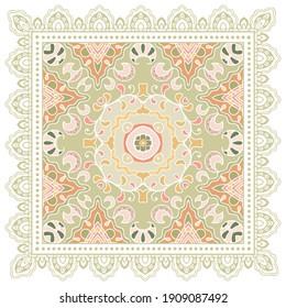 Decorative colorful ornament on white background, symmetric pattern with doodle lace frame. Tribal ethnic mandala decor. Bandana shawl, hijab, tablecloth fabric print, silk neck scarf, kerchief design