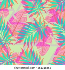 decorative colorful palm tree foliage. Tropical palm leaves, jungle leaves seamless vector floral triangular memphis pattern, trendy hipster abstract background