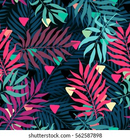 decorative colorful palm tree foliage. Tropical palm leaves with triangle, jungle leaves seamless vector floral pattern, trendy hipster abstract background