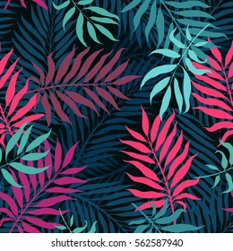 decorative colorful palm tree foliage. Tropical palm leaves, jungle leaves seamless vector floral pattern, trendy hipster abstract background