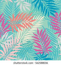 decorative colorful palm tree foliage. Tropical palm leaves, jungle leaves seamless vector floral pattern, trendy hipster memphis abstract background