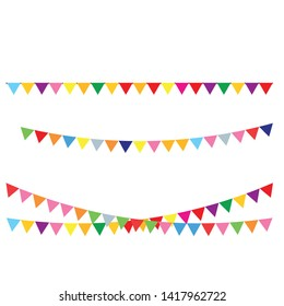 Decorative colorful party pennants for birthday celebration, festival and fair decoration.  Birthday party invitation banners.