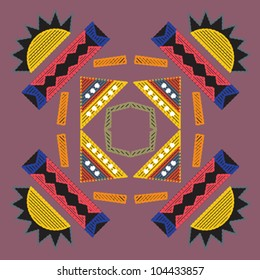 Decorative colorful pattern with a vibrant original African feel based on bead work