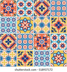 Decorative colorful tile pattern design. Vector illustration.