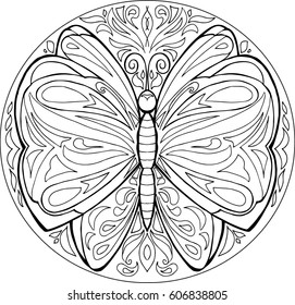 Decorative coloring mandala with butterfly on white background.