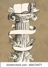Decorative column with different ribbons and floristic elements. Books and manuscripts symbolize science and education. Hand drawn Illustration in engraved style. Vector vintage banner