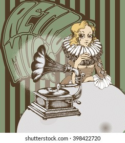 Decorative composition with hand drawing Gramophone and nice lady. engraving style. vector illustration.