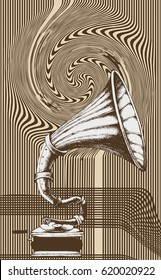 Decorative composition with hand drawing Gramophone. engraving style. vector illustration