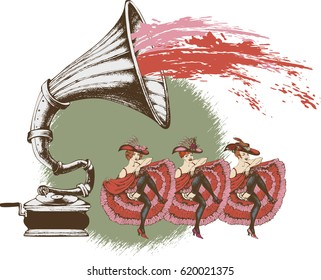 Decorative composition with hand drawing gramophone and cabaret dancers. Engraving style, vector illustration