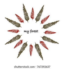"decorative composition with hand drawn trees, red and green and the writing ""my forest"", isolated on white background. circle or star shaped composition"