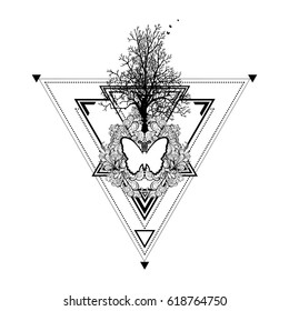 Decorative composition of tree, floral ornament and butterflies on a geometric background made of triangles.Unique design for tattoos, printing on t-shirts. Vector illustration of poster, postcard.