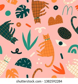 Decorative contemporary funny Cats print with floral elements geometric shapes and kittens. Seamless animal kids pattern in vector.