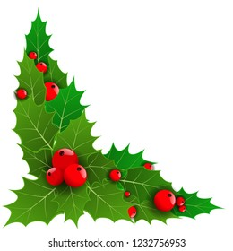Decorative corner or with Christmas holly berries for your borders. Vector illustration.