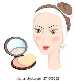 Decorative cosmetics for girls in cartoon style, blasher peach-colored. Vector illustration