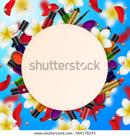 f55f212c115af decorative cosmetics make up accessories beauty store. Summer or spring  background with tropical flowers and rose petals - Vector