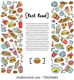 Decorative cover with hand drawn colored burgers, drinks, french fries, sandwiches, ice cream on white background. Illustration on the theme of fast food. Vector background for use in design