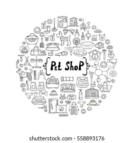 Decorative cover with hand drawn isolated goods for pets on white background. Illustration on the theme of pet shop, animals. Vector background for use in design