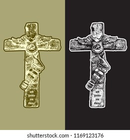 Decorative cross - emblem with crucifix, police badge, eagle, gun in holster belt. Vector graphic illustration in vintage black, white and gold engraving style.