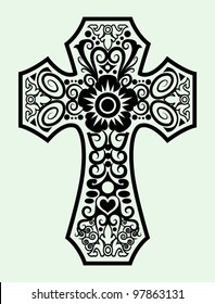 Decorative cross ornament ink black and white drawing symbol