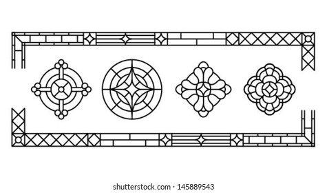 Decorative cross, a set of classic stained glass window design silhouettes, vector illustration