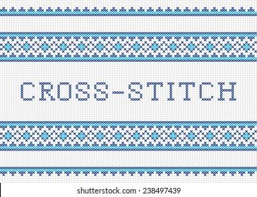 Decorative cross stitch needlework design. Cross-stitch.
