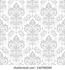 Decorative damask pattern. Vintage ornament, baroque flowers and silver venetian ornate floral ornaments. Royal victorian flourish wallpaper or diploma heraldry seamless vector background