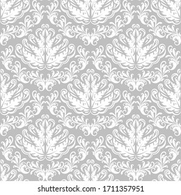 Decorative damask pattern. Vintage ornament, baroque seamless flowers and silver decorative patterns. Royal classic wallpaper