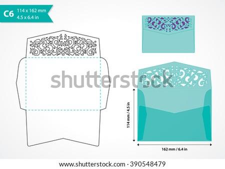 decorative die cut envelope template vector stock vector royalty