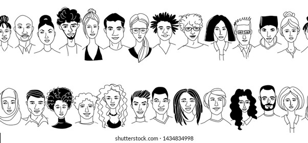 Decorative diverse women's men's head seamless pattern frame border background. Multiethnic team gruop crowd community. Hand drawn grunge line drawing doodle black and white vector illustration poster