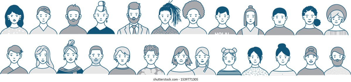 Decorative diverse women's and men's head seamless pattern frame border background. Line art drawing doodle vector illustration poster with multiethnic team gruop crowd community.